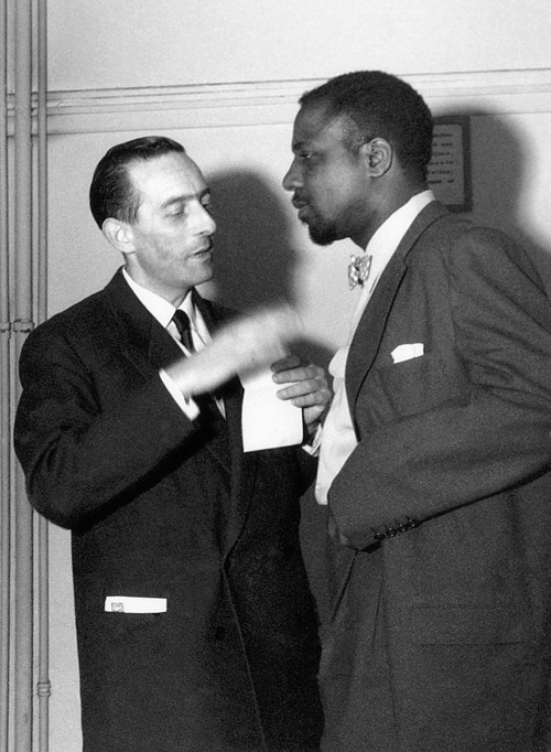 Charles Delaunay, Thelonious Monk, Salle Pleyel backstage, Tuesday, June 1, 1954, by Marcel Fleiss
