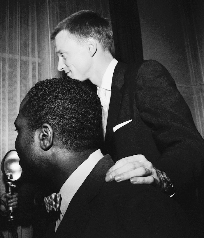 Thelonious Monk, Gerry Mulligan, Salle Pleyel backstage, Tuesday, June 1, 1954, by Marcel Fleiss
