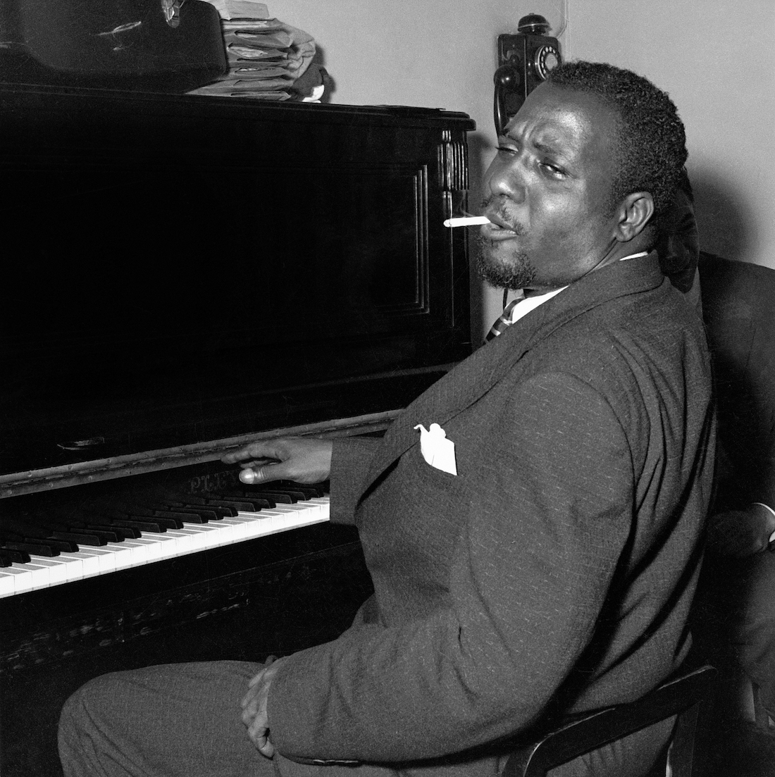 Thelonious Monk, Salle Pleyel backstage, June 1954, by Marcel Fleiss