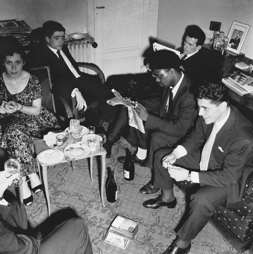 Ny Renaud, Jean-Marie Ingrand, Frank Isola, Thelonious Monk, Sacha Distel, Marcel Fleiss parents' apartement at Trocadéro, Paris XVI, by Marcel Fleiss